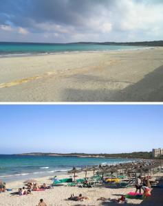 Platja de Cala Millor de l'hivern a l'estiu. El negoci de les ombrel·les i hamaques transforma radicalment el paisatge.