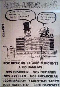 Cartell d'un conflicte laboral a l'Hotel Lotus Playa (1979).
