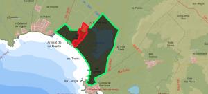 La finca de sa Barralina (en línia vermella) a Campos. Situada dins l'àrea que ha ser el futur parc natural des Salobrar-Es Trenc (en línia verda).