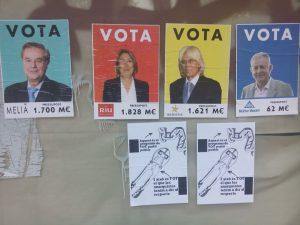 «Cartells electorals» (maig 2015) denunciant el poder dels hotelers balears. Macià Blázquez.