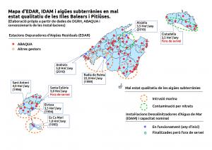 Mapa de depuradores, dessalinitzadores i aigües subterrànies en mal estat qualitatiu.